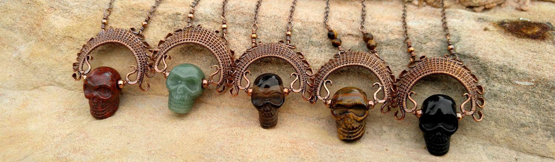 Copper wire woven Ancestor Necklaces, design by Wendi of Door 44 Studios