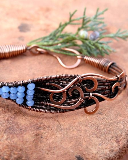 Handcrafted copper wirework bracelet. Design by Sarah Thompson. Crafted by Wendi Reamy