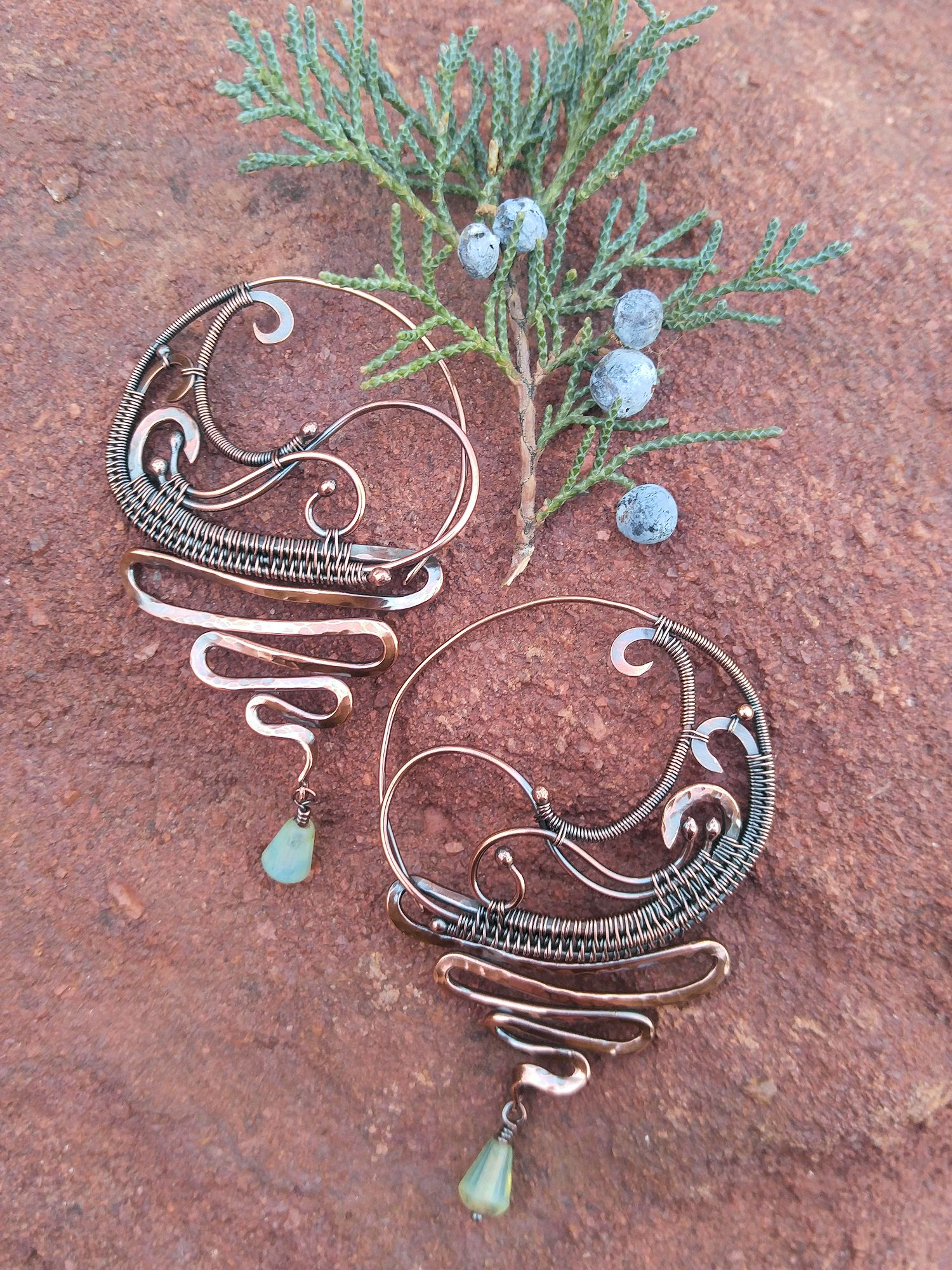 The Scribble Earrings - Design by Sarah Thompson, Fabricated by Wendi Reamy