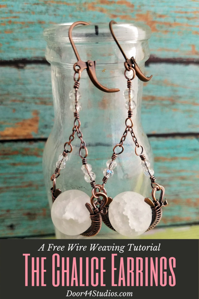 Learn to make these pretty Chalice Earrings with this free wire weaving tutorial! In this beginner-friendly lesson, I'll walk you step-by-step through the process of forming and weaving the pretty wire woven bead frames. And then we'll make some pretty beaded connectors to complete your new classic chandelier earrings!