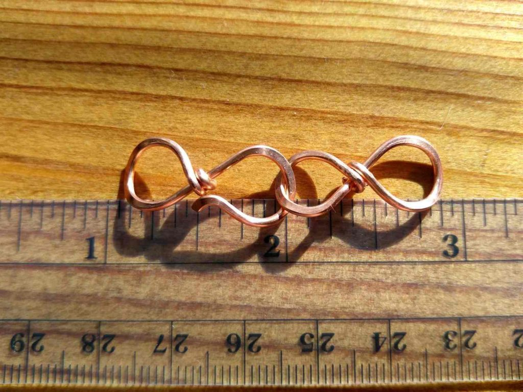 The small Easy Infinity Clasp is made with 16ga wire and measures approximately 1.75 inches long, including both the hook and the loop portions of the clasp.