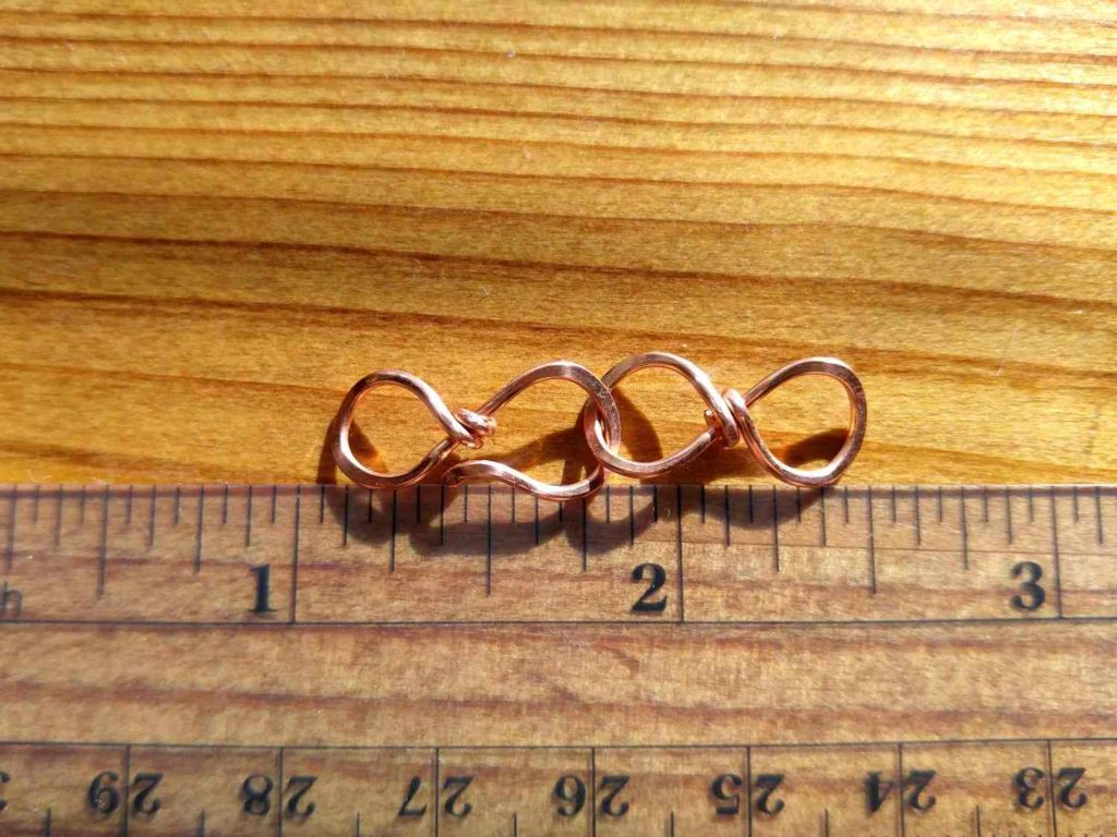 The small Easy Infinity Clasp is made with 18ga wire and measures approximately 1.5 inches long, including both the hook and the loop portions of the clasp.