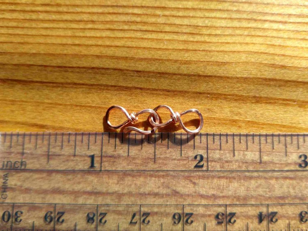 The small Easy Infinity Clasp is made with 20ga wire and measures approximately 1 inch long, including both the hook and the loop portions of the clasp.