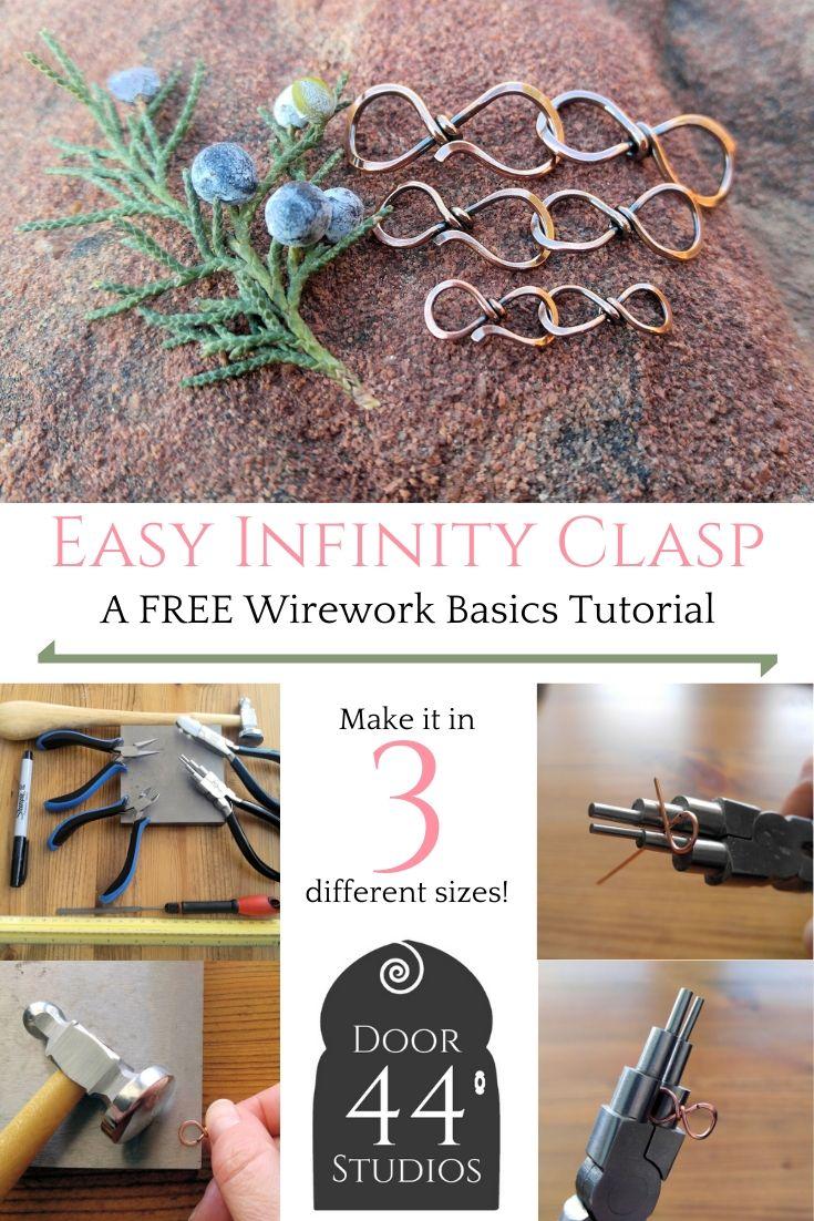 This Easy Infinity Clasp can be made in three different sizes. Make it in any wire that you choose to match your handmade jewelry. Find the free tutorial at door44studios.com.