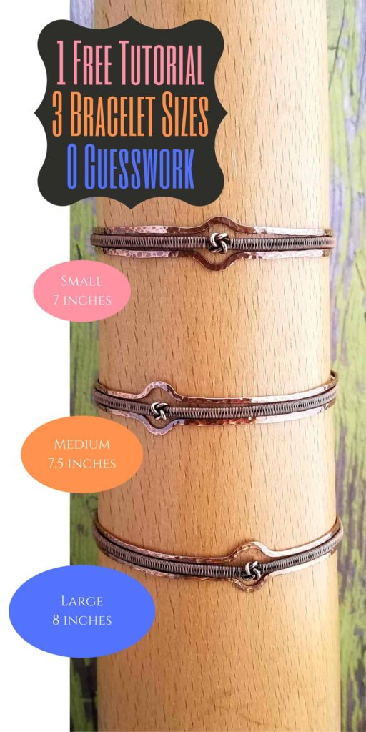 The free tutorial for the Lover's Knot Stacked Bangle includes instructions for making the bracelet in three different sizes (Small, Medium, and Large). Also included in the tutorial are clear instructions for customizing this bracelet for any size wrist.