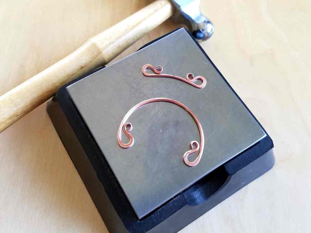 Door 44 Studios Ancestor Pendant Tutorial: Step 16, work harden the curled ends of Wires 1 and 10