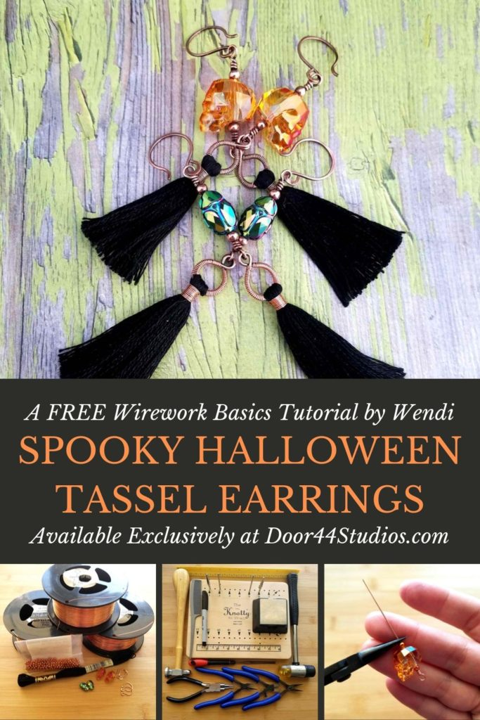 How adorable are these Spooky Halloween Tassel Earrings? And they're super easy to make, even if you've never tried working with wire before! I'll walk you through the process, step-by-step in this very detailed and FREE tutorial, which is geared toward those who have never worked with wire. This design is so versatile and fun, you'll want to make earrings for every season and every holiday!