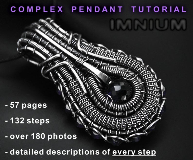 The Complex Pendant Tutorial by IMNIUM. Design by Ivona Posavi Pšak. This intermediate wire weaving tutorial is available in Ivona's Etsy shop, IMNIUM.
