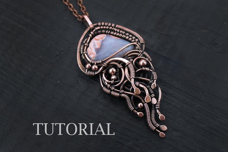 The Jellyfish Wire Wrapping Tutorial by Lena Sinelnik Art. This beginner-friendly tutorial is available for sale in Elena's Etsy Shop, Lena Sinelnik Art.