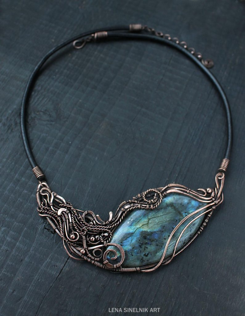 Big Labradorite Necklace by Lena Sinelnik Art. See Schepotkina at DeviantArt.com for more of Lena's stunning nature-inspired wire wrapped jewelry.