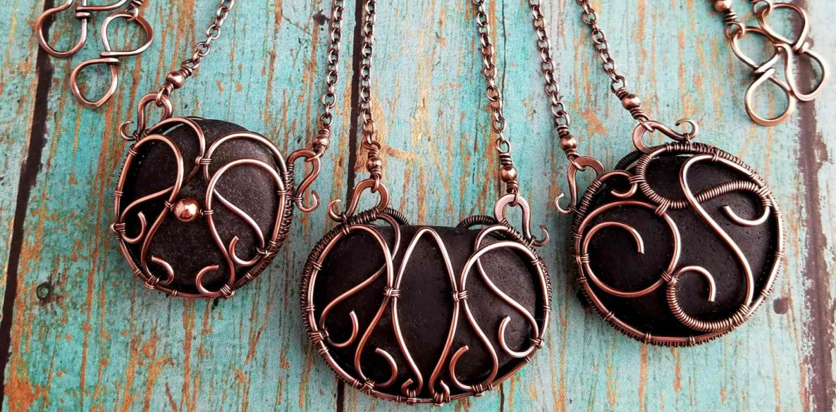 Door 44 StudDoor 44 Studios Private Commission: Three bespoke copper wire wrapped necklaces featuring volcanic beach pebbles from Iceland