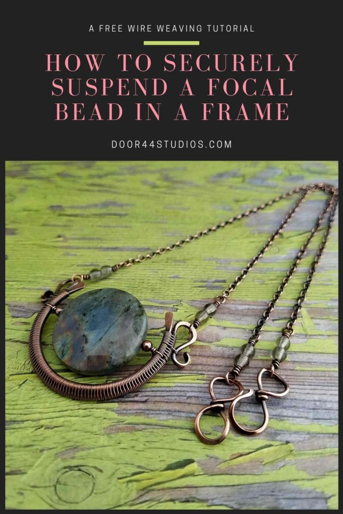 This is the alternate suspension method that I use to securely suspend heavy gemstone focal beads within a wire woven frame. This method allows you to create fun, kinetic jewelry spinners.