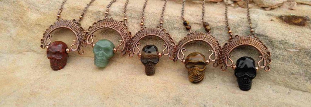Copper and Gemstone Ancestor Pendants - Design by Wendi Reamy of Door 44 Studios