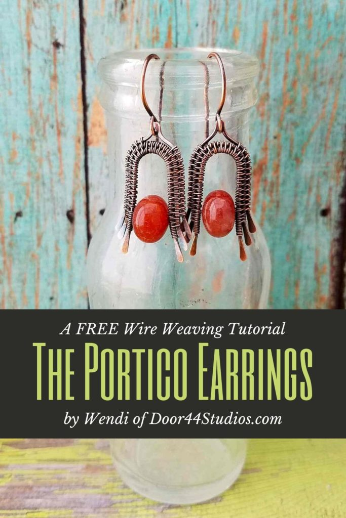 The architecturally inspired Portico Earrings are a perfect wire weaving project for beginners. In this free wire weaving tutorial, I'll walk you, step-by-step, through the process of making these pretty earrings with just a few bits of jewelry wire and a couple of beads.