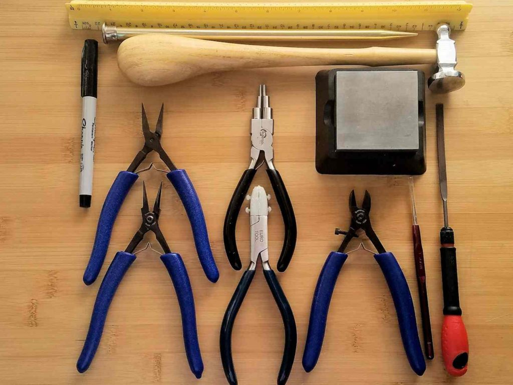 The tools needed to create the Portico Earrings are pictured here and itemized below.