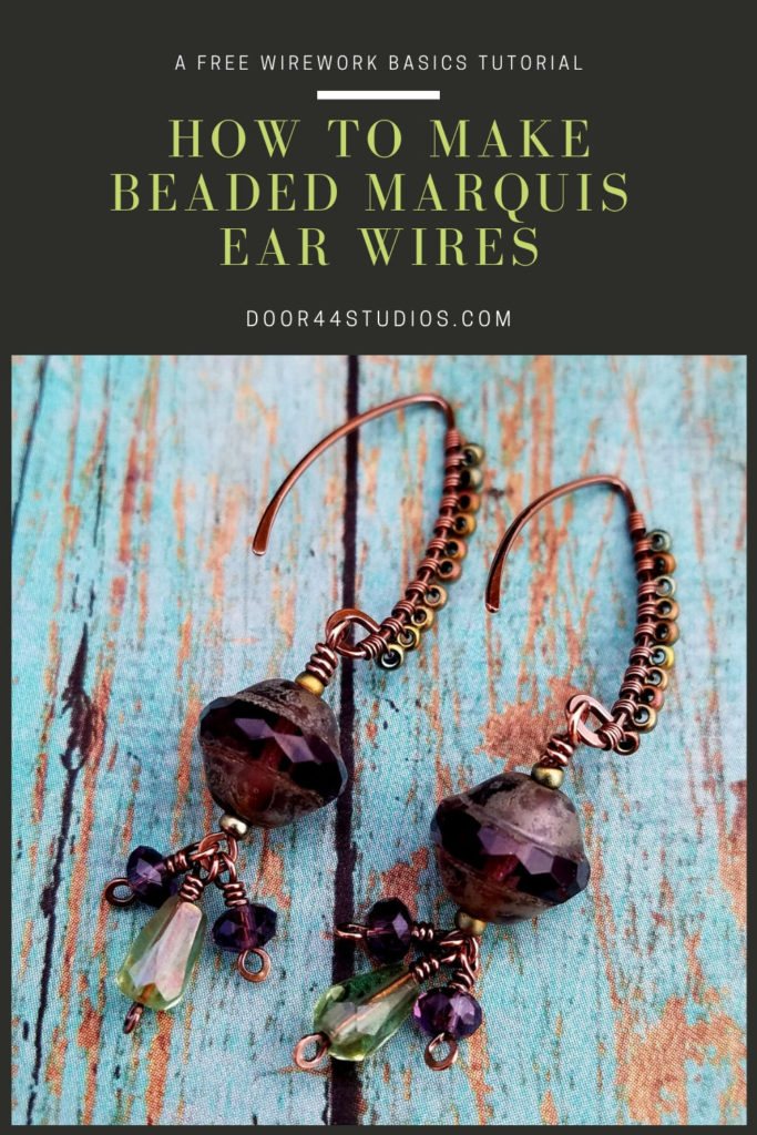 Welcome to Part 3 of my Marquis Earring Series! In the past three weeks, we learned to make Marquis ear wires from scratch. Then we learned to create fun beaded tassels for those ear wires. Finally, in this week's post, we're going to learn to embellish ear wires (or any wire component) with beads. This technique is super easy to master, and it adds so much texture and color to basic jewelry findings. Let's make something beautiful together!