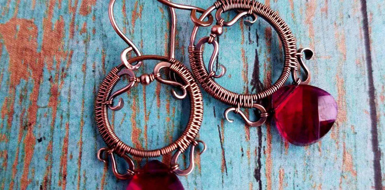 Door 44 Studios - The Rosewood Earrings: A Free Wire Weaving Tutorial