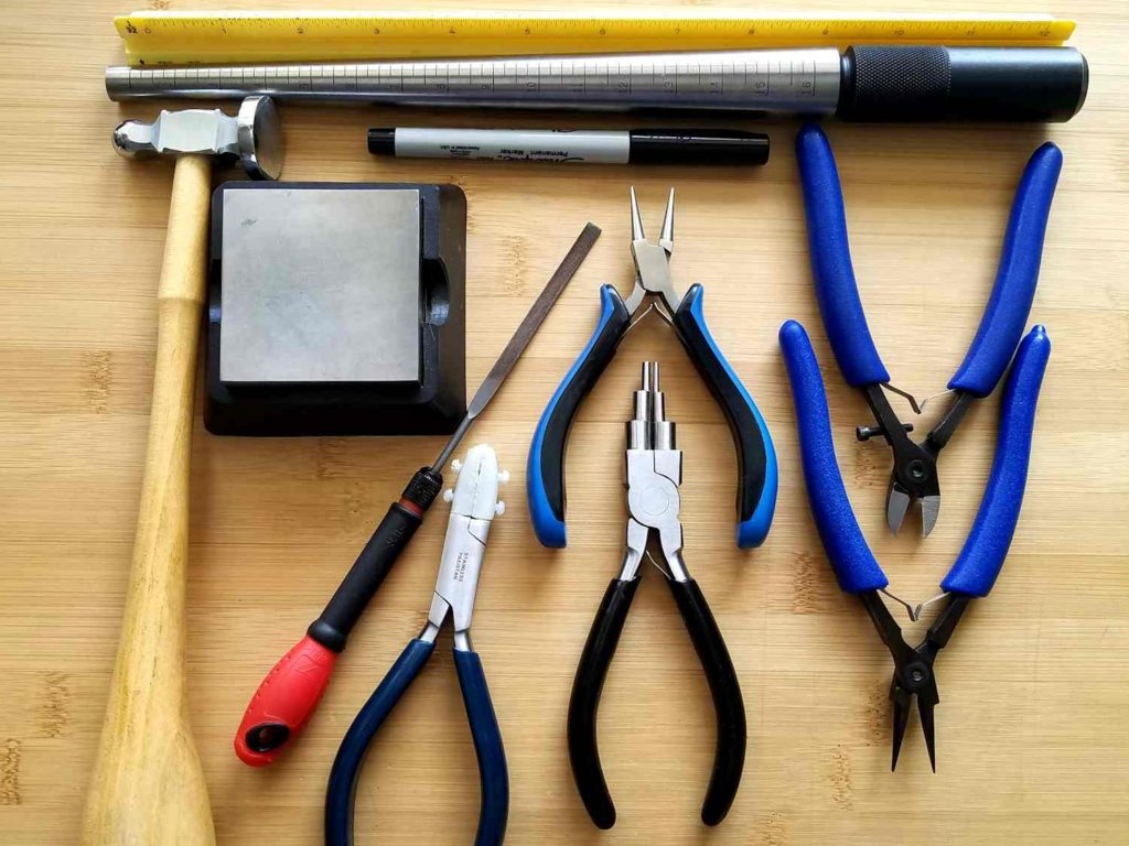 These are the tools needed to create the Rosewood Earrings. See below for an itemized list including links to sources.