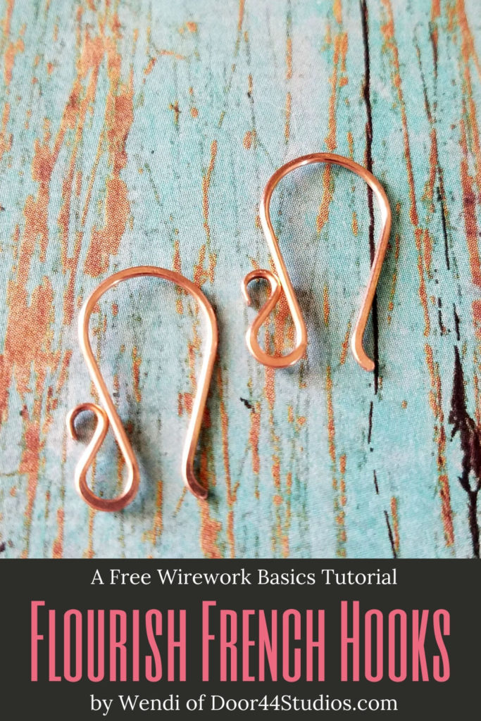 Learn to make your own custom ear wires with a pretty flourish with this free wire jewelry tutorial. I'll show you the secret to making perfectly matched pairs of ear wires. Every time! The path to wire weaving mastery begins at Door 44 Studios.