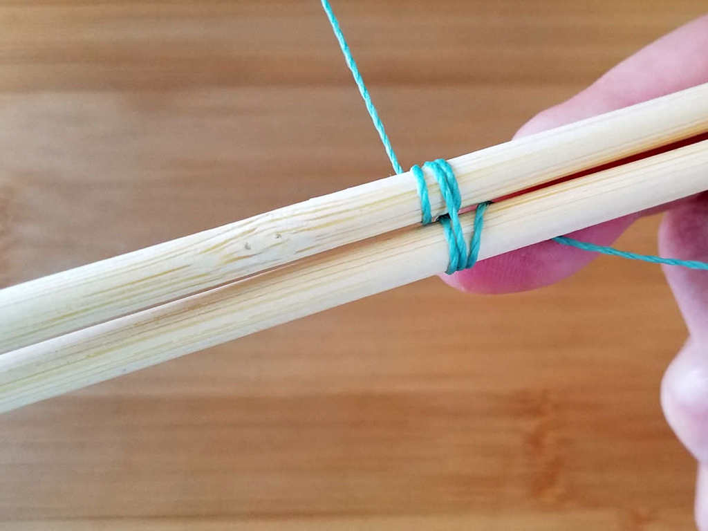Step 8 - Wrap the weaving wire once around Core 2, as shown.