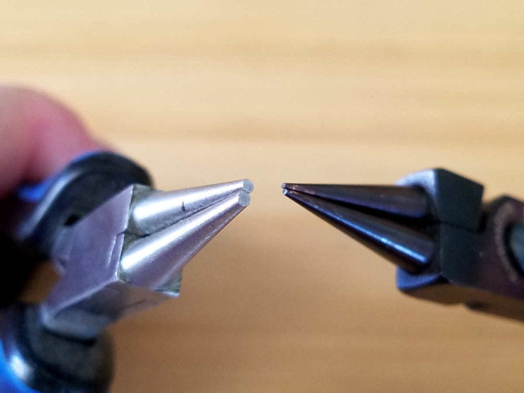 This image shows a side-by-side comparison of my generic round nose pliers and my precision professional-grade pliers. The difference is in the precision of the jaws. And that does effect outcomes when it comes to making jewelry. It's easier to avoid tool marks on wire with the higher-end tools.