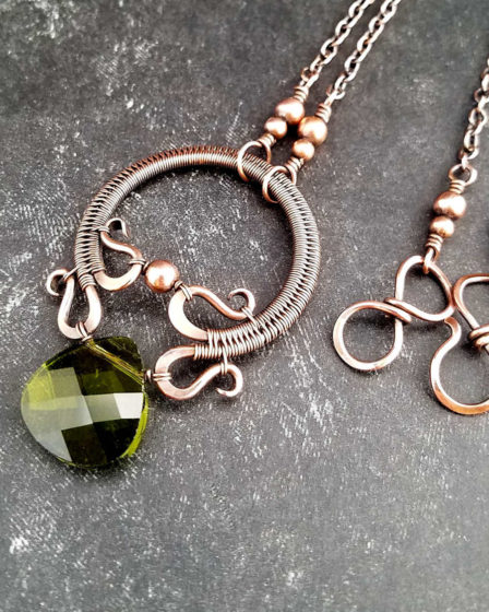 The Rosewood Pendant in copper featuring an olivine crystal briolette - design by Wendi Reamy of Door 44 Studios