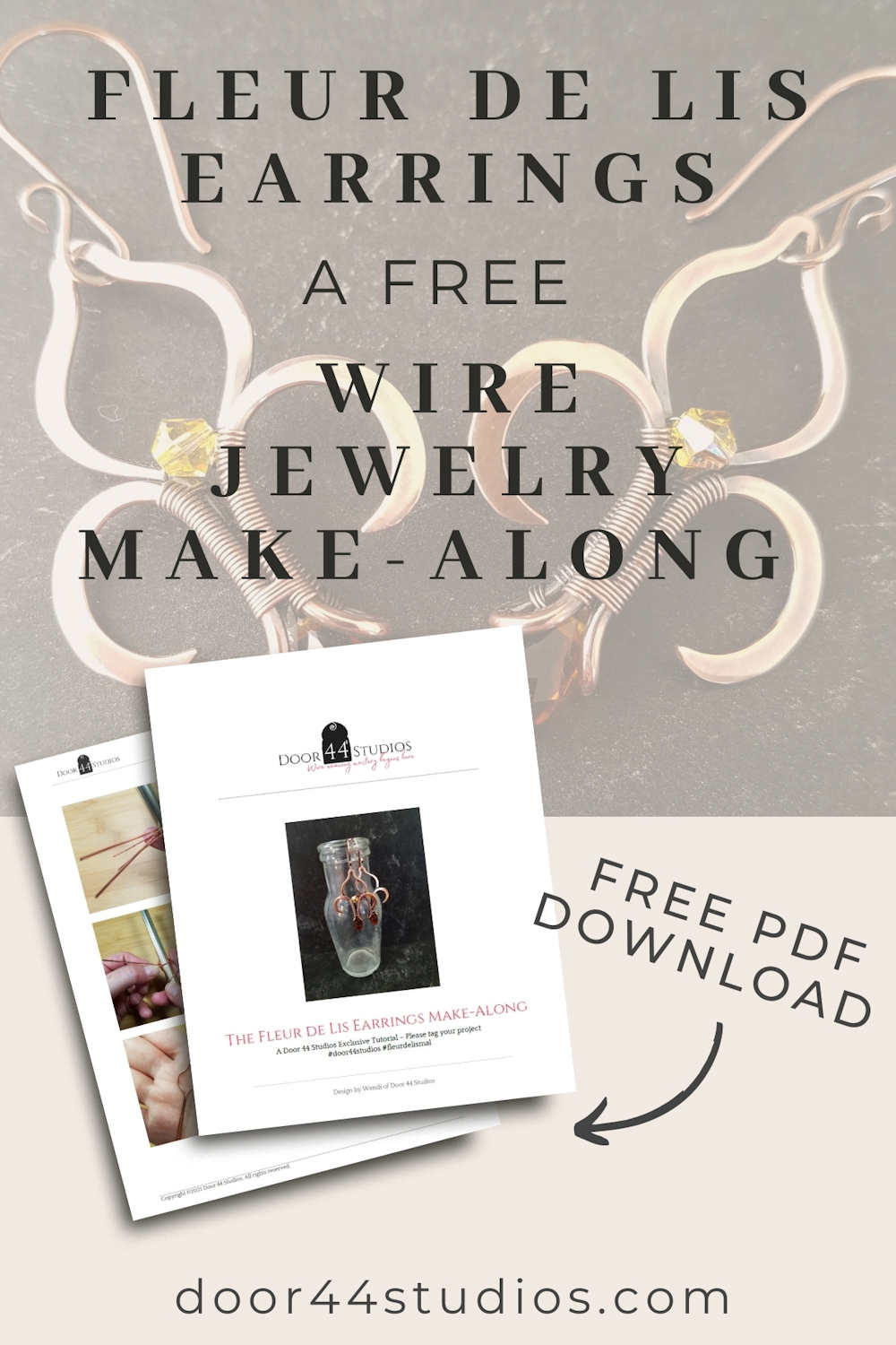 Learn to make the Fleur-de-Lis earrings with this video-guided wire jewelry make-along, which includes a free downloadable PDF tutorial.